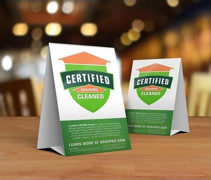 """Certified: SERVPRO Cleaned"" table top indicators"