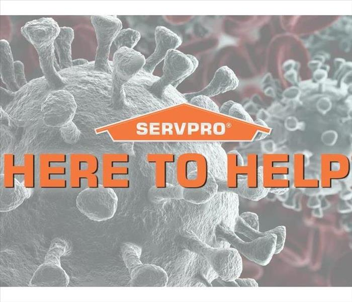 "Virus particles with the logo ""SERVPRO - Here to Help"""