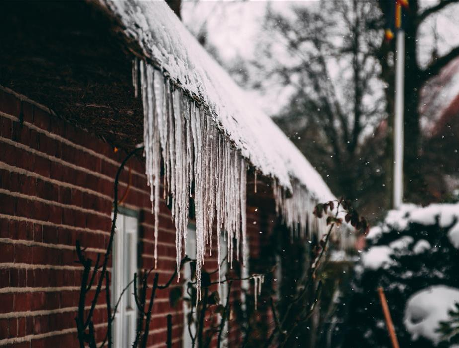 Icicles from home gutters